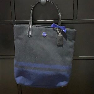 Coach Wool Black and Blue Long tote !